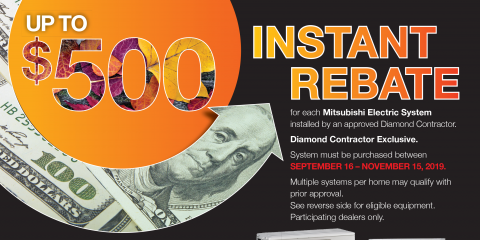 Save Up to $500 on a New Mitsubishi Electric® HVAC System, Newton, Massachusetts